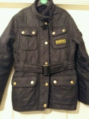 girls barbour international quilted jacket black age 8/9 years