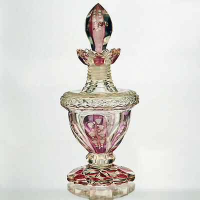 c.1870 Bohemian pink flashed engraved and cut glass scent perfume bottle
