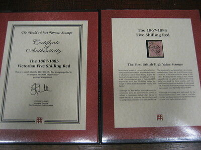 1867-1883 FIVE SHILLING  RED DEFINITIVE FOLDER and CERTIFICATE SG126 CAT £675.00