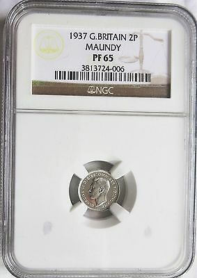 1937 Great Britain 2 Pence Maundy Silver NGC PF 65 High Grade