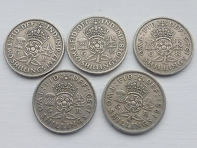 5 George Vi Two Shilling Coins 1947/48/49/50/51