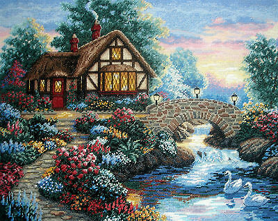 Dimensions Completed Counted Cross Stitch Tapestry Unframed Twilight Bridge