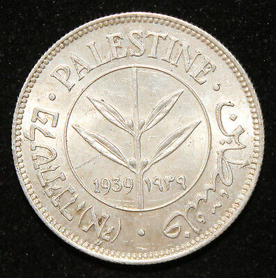 Quite RARE Uncirculated 50 Mils of Palestine 1939 - Silver Coin