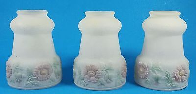 Lot of 3 Matching Hand Painted Frosted Glass Lampshades