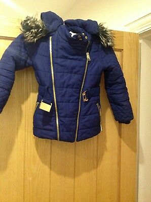 girls blue belted fur river island jacket uk size 6 years old