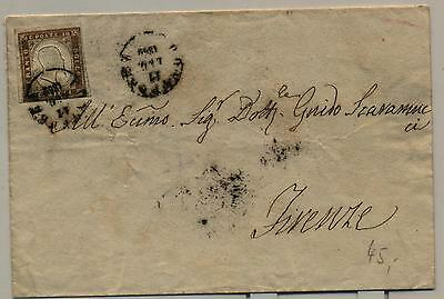 1862 Firenze postmark Italy early cover with 10 centesimi stamp