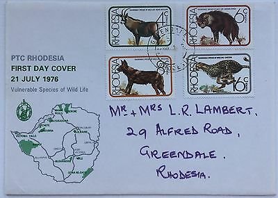 Rhodesia  - First Day Cover - 21 July - Vulnerable Species Of Wild Life
