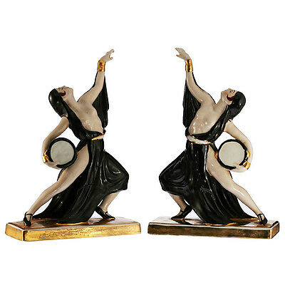 c.1930s pair of Continental Art Deco porcelain dancers