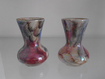2 Small Oldcourt Ware Posy Vases.