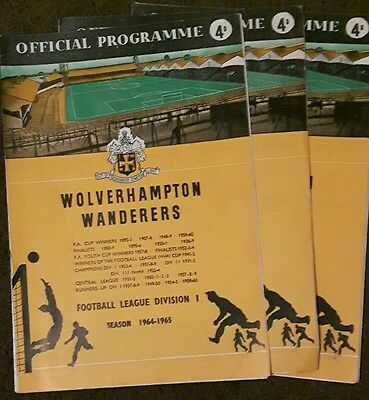 Football Programmes 3 Wolves Home 1964/65