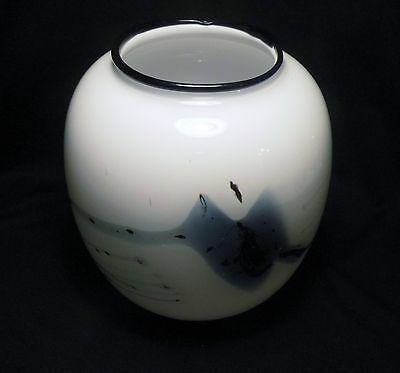 Signed Holmegaard Danish Art Glass Vase Michael Bang