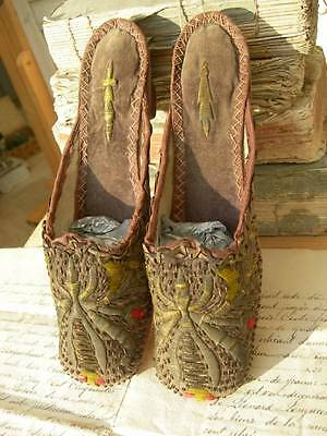 Antique Ottoman velvet & gold bullionwork 19th century shoes mules