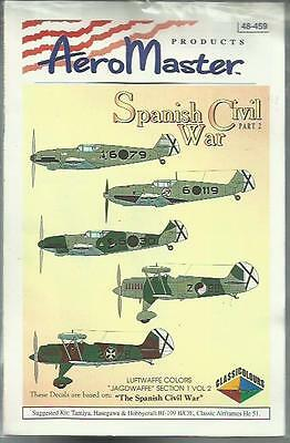 Aeromaster Decals 48-459 Bf109B/D/E He51 Spanish Civil War decals in 1:48 Scale
