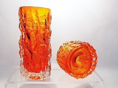2 x WHITEFRIARS ART GLASS, VASE AND CANDLE HOLDER BY GEOFFREY BAXTER,