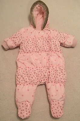 NEXT baby - 3-6 months - Girls Snowsuit, Pramsuit, Pink, Popper Fasten, Winter