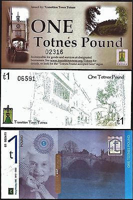 England / Totnes - 3 x £1 Local Banknotes, with hard to find early versions. UNC