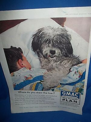 Great 1958 Original Color Ad for GMAC featuring an Old English Sheep Dog