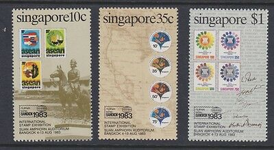Stamps Singapore 1983 MNH set Stamps Exhibition