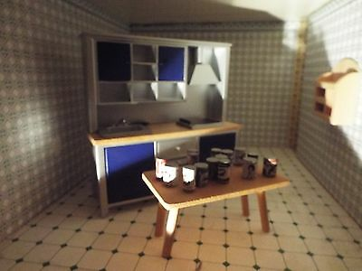 Kitchen Full Unit & Large Wooden Dining Table Furniture 1/12Th Scale
