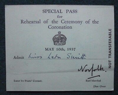 King George VI Special Pass Ticket Invite Rehearsal of Coronation 10 May 1937