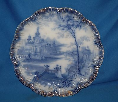 "Vintage blue and white Pastorale scene  9.25"" (23.5cm)  flower shaped plate"