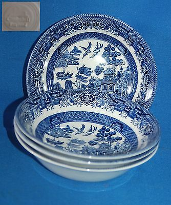 Four Churchill blue and white Willow Pattern cereal bowl/dish