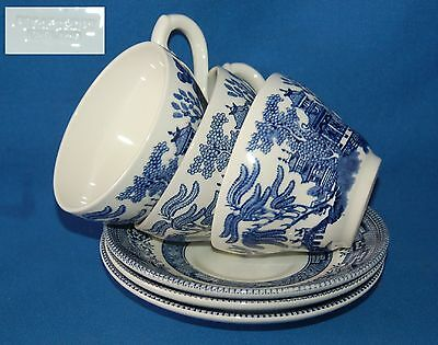 Three Broadhurst blue and white Willow Pattern Duos cup and saucer