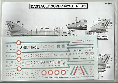 Berna Decals 72-53 Dassault Super Mystere French Air Force decals in 1:72 Scale