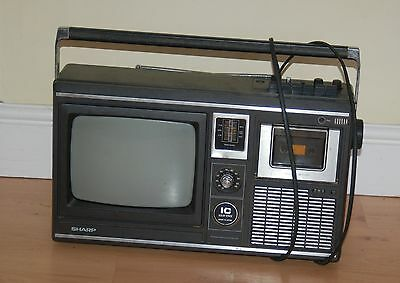 Vintage 70/80s  Sharp  10P 18H solid state portable tv, radio cassette player
