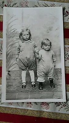 Vintage Real Photo Postcard. Cute Children In Really Weird Dress / Pyjamas