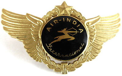 Air India Gilt Metal/Enamel Pilots Badge