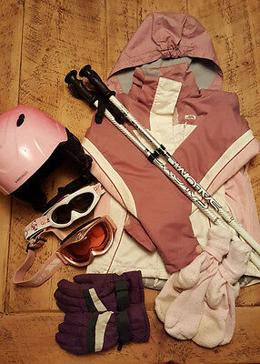 Childs girls SKI BUNDLE Jacket Poles Helmet Gloves age 8-10 years