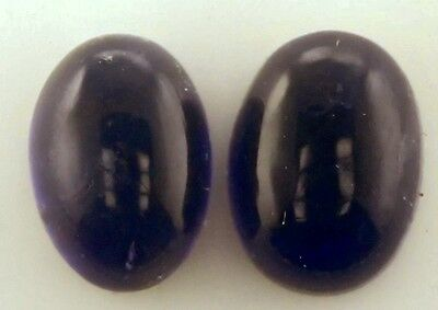 A PAIR OF 7x5mm OVAL CABOCHON-CUT PURPLE/BLUE NATURAL AFRICAN IOLITE GEMS £1 NR!