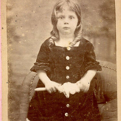1880s DARLING LITTLE GIRL CHINA DOLL CDV PHOTO CARTE DE VISITE NEWTON ABBOT