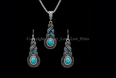 New Fashion Tibet Silver Turquoise Necklace Earring Duo Set Party Jewelry Xmas