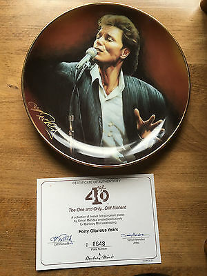 Cliff Richard 40 Years Collectors Plate & Certificate - The One & Only... Cliff