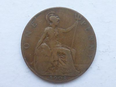 1908 Edward Vii Old Penny Coin