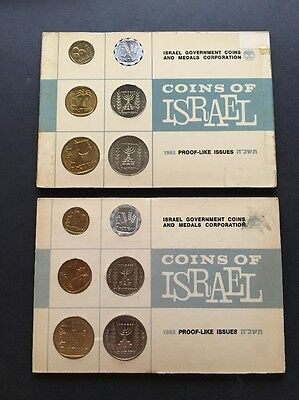 2 Coins of Israel 1965 Proof Issue Sets in Original Case Unc. Uncirculated
