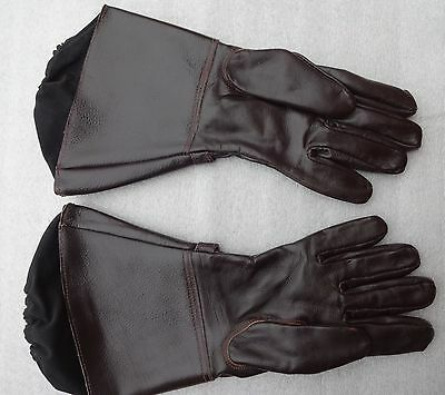 Vintage Brown Leather Gauntlets Gloves Small Classic Bike NortonTriumph 1950's