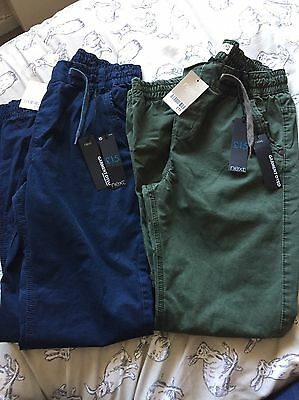 2 Pairs Next Boys Pull On Trousers Navy And Khaki Age 14 Years BNWT