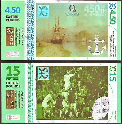 """England / Exeter- The """"Odd Couple"""", Limited Edition £15 & £4.50 Banknote set.UNC"""