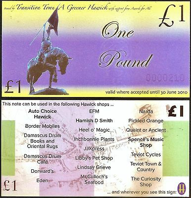 Scotland/ Hawick : £1 Local Issue Banknote, Scotland's failed Local Currency.UNC