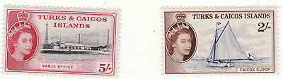 Turks & Caicos - 1957 Definitives 2 Values 2/- And 5/- Mm