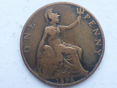1898 Queen Victoria Old Penny Coin