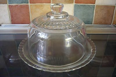 """Stunning French All Glass Cheese Dome & Lid 6.75"""" X 8.5"""" Brand New Unboxed"""