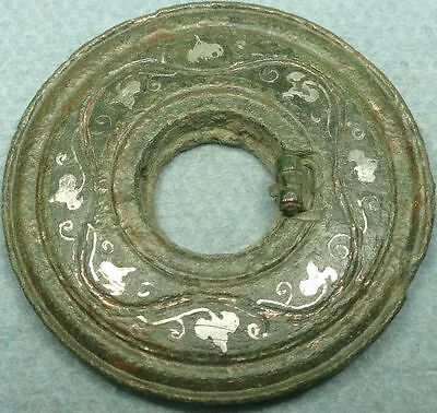 Ancient Bronze Disc Decoration W/ Silver Inlay