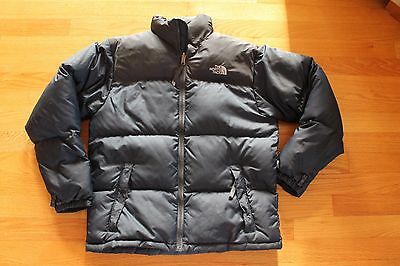 The North Face Black Blue Down 600 Nuptse Puffer Jacket Coat Youth Boys Large