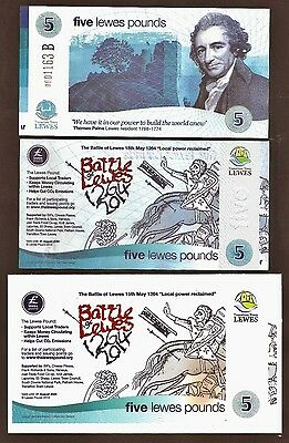 """England- Lewes : The """"Battle of Lewes"""" £5 Banknote with limited edition Postcard"""