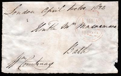 GB 1822 Free Frank Front signed W COURTENAY 9th Earl of Devon