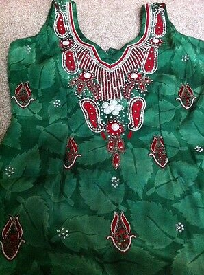 Green & Red Salwar Suit - Size 10 - Brand New